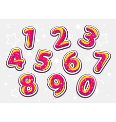 Festive red and yellow set of numbers on light vector