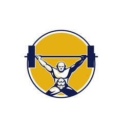 Weightlifter lifting weights circle retro vector