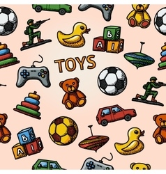 Seamless toys handdrawn pattern with - car duck vector