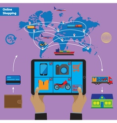 Online shopping and mobile marketing concept vector