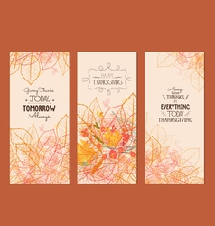 Happy thanksgiving three autumn banners with vector