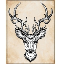 Deer head in line art style vector