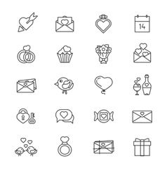 Set of 20 line icons valentine day vector