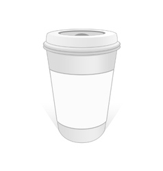 White cup of coffee with the label vector