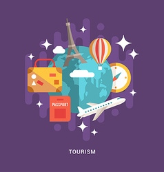 Tourism concept flat style globe with travel flat vector