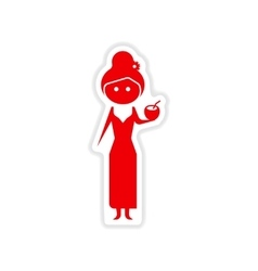Paper sticker on white background girl with vector