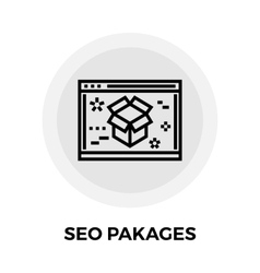 Seo packages line icon vector