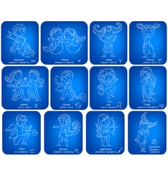 Horoscope signs kids set vector