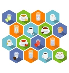 Isometric drinks and beverages icons in flat vector