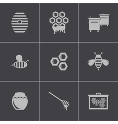 black honey icons set vector image vector image