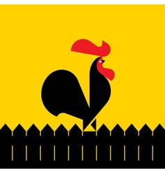 Black rooster on a fence vector