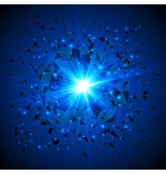 Blue flaming meteor cosmic explosion vector image