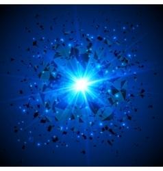 Blue flaming meteor cosmic explosion vector