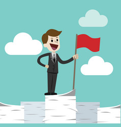 business man standing on a huge tower stack of vector image vector image