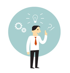 Businessman pointing at light bulb vector image vector image