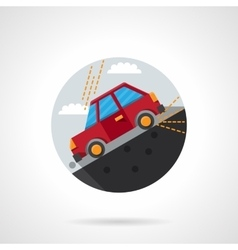 Car on a slope round flat color icon vector