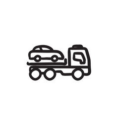 Car towing truck sketch icon vector