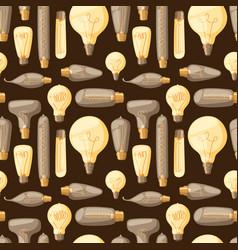 cartoon lamps old retro light bulb seamless vector image vector image