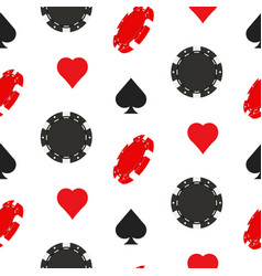 casino poker seamless pattern with card suits vector image vector image