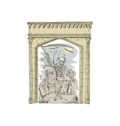 Cemetery arch grim reaper vector