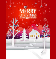christmas paper poster vector image vector image
