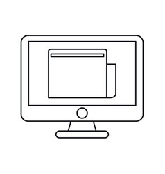 Computer technology digital document work outline vector
