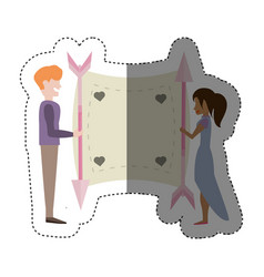 Couple love card romance shadow vector