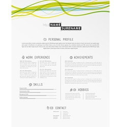 Creative simple cv template with colorful lines in vector image vector image