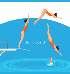 Diving board and female swimmer in swimsuit that vector