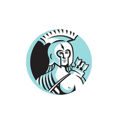 Female Spartan Warrior Circle Retro vector image vector image
