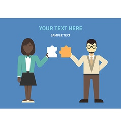 Flat design two businessmans with puzzle c vector