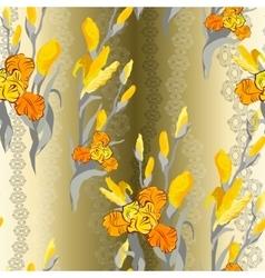 Floral seamless pattern yellow iris flower vector