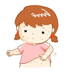 Girl scratching itching rash on his body vector