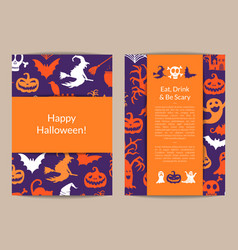 halloween card templates with witches vector image vector image