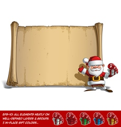 Happy santa scroll salute with a gifts vector