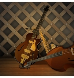 jazz musical instruments on a wooden background vector image