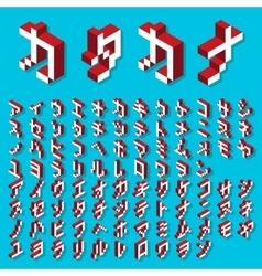 Katakana alphabet isometric vector