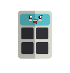 Kawaii calculator icon vector