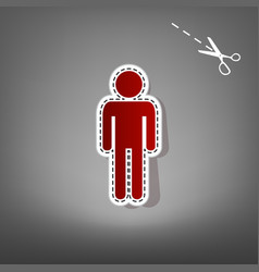Man sign red icon with for vector