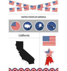 map of california set of flat design icons vector image vector image
