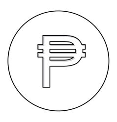 Monochrome contour with currency symbol of vector
