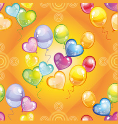 Pattern with colorful balloons on green background vector