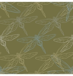Seamless background with dragonflies vector image
