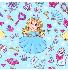 Seamless pattern with cute little princess in the vector image