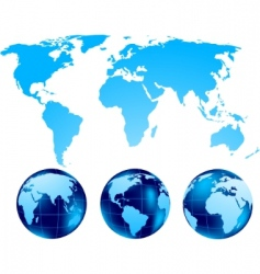 set of globe vector image