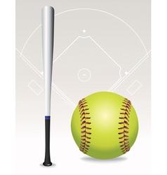 softball and bat vector image