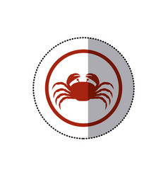 Sticker red circular ornament with crab inside vector