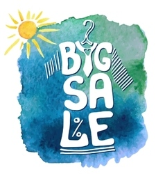 Summer Big Sale letteringTee sirtwatercolor sun vector image vector image