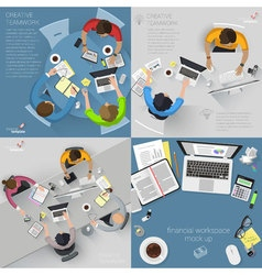 Top view flat design creative office vector image vector image