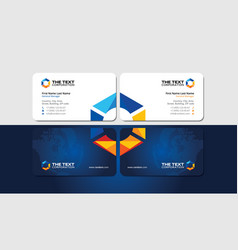 Visiting card with creatively multicolored hexagon vector